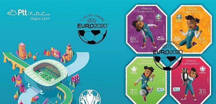 """PTT Tarafından Resmi Lisansla Çıkarılan """"Uefa Euro 2020tm"""" Konulu Anma Pulu Ve İlkgün Zarfı"""