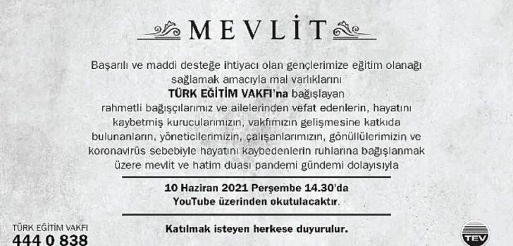 Türk Eğitim Vakfı, Geleneksel Mevlidini YouTube Üzerinden Gerçekleştirecek